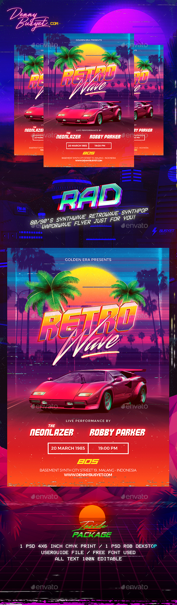 Retrowave 80's Synthwave Flyer - Events Flyers