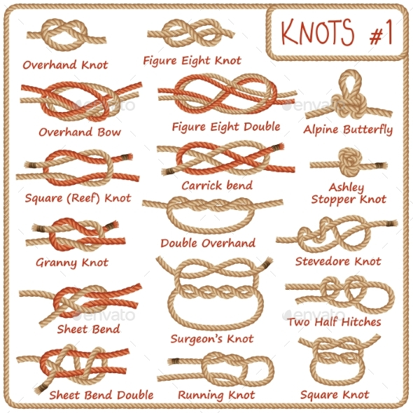 Set of Rope Knots, Hitches, Bows and Bends - Decorative Symbols Decorative