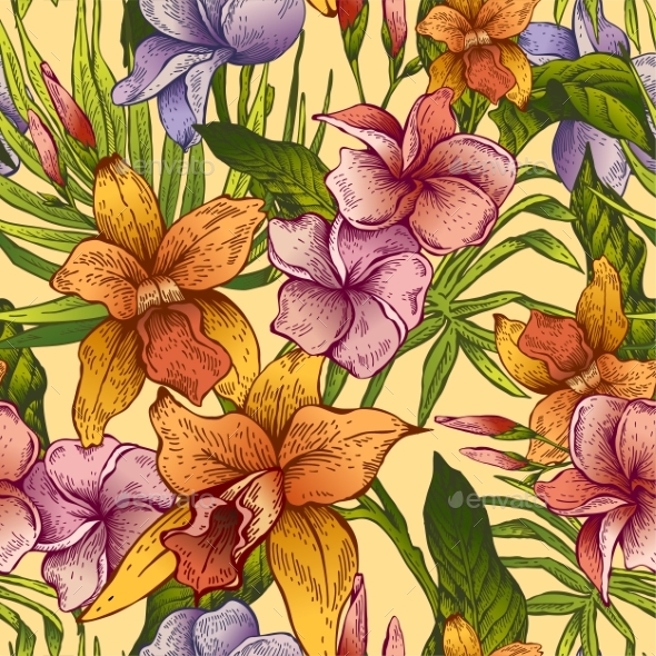 Vector Vintage Floral Tropical Seamless Pattern - Flowers & Plants Nature