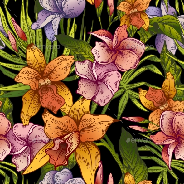 Vintage Floral Tropical Seamless Pattern - Flowers & Plants Nature