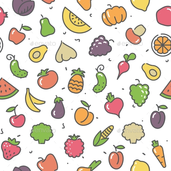 Seamless Pattern Fruits and Vegetables - Food Objects