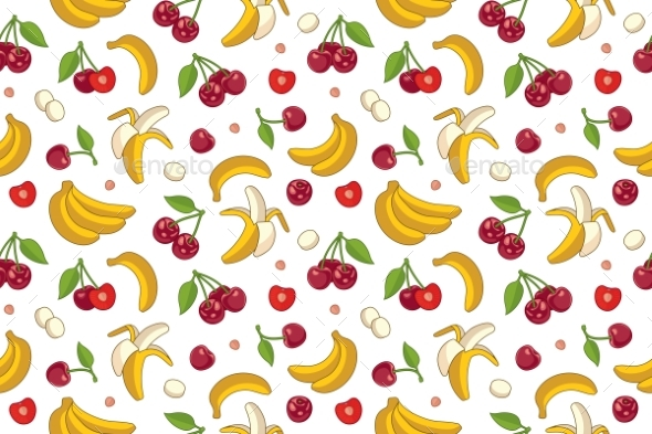 Seamless Pattern with Cherries and Bananas. - Food Objects