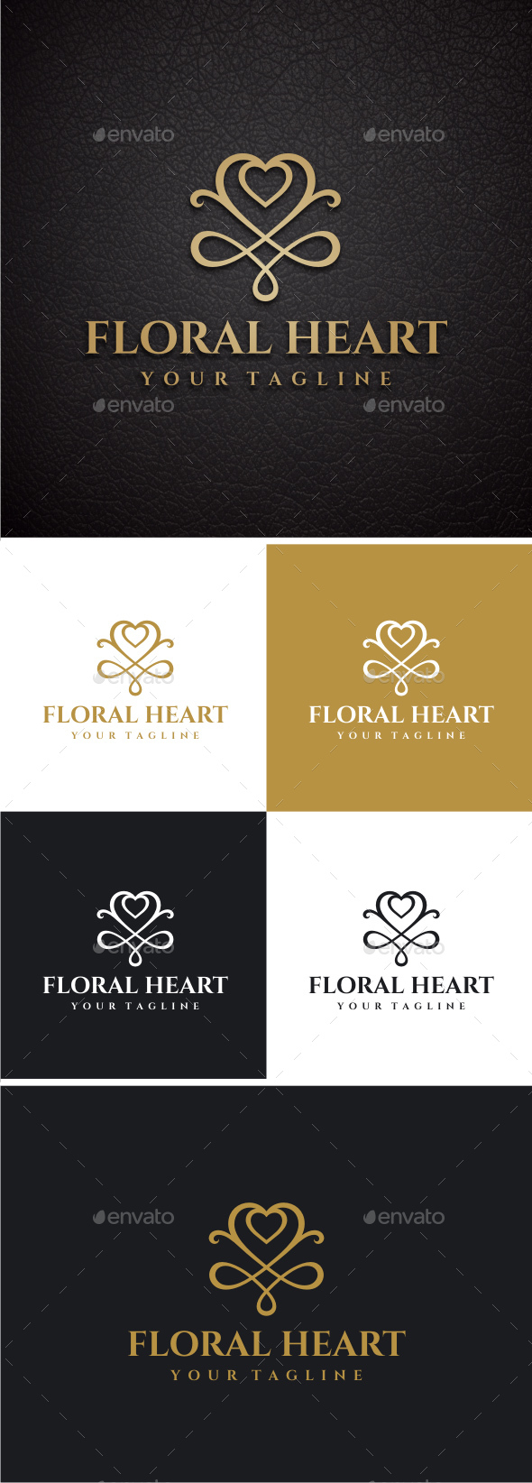 Floral Heart - Crests Logo Templates