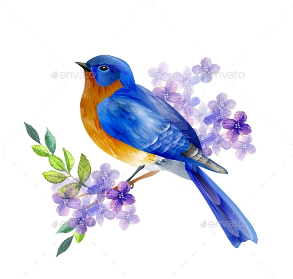 Bird of Spring Vector - Flowers & Plants Nature