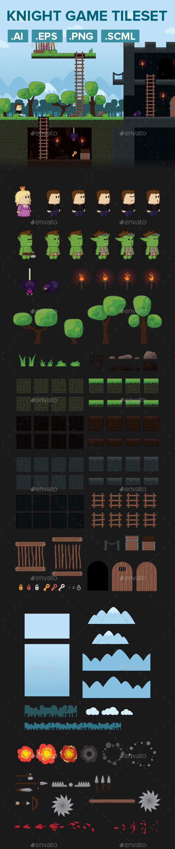 Warrior Platformer Game Tileset and Assets - Game Kits Game Assets