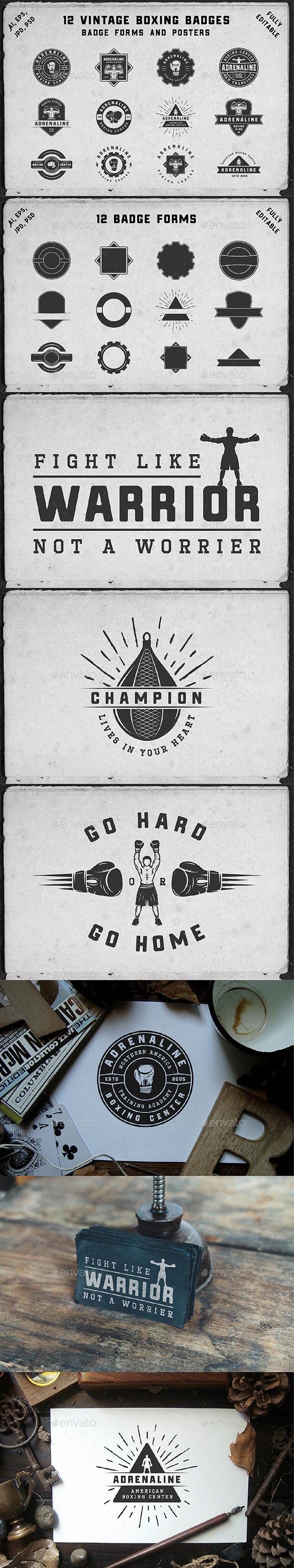 12 Vintage Boxing Badges - Badges & Stickers Web Elements