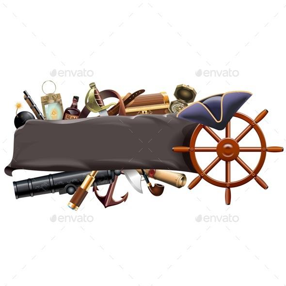 Vector Pirate Banner - Travel Conceptual