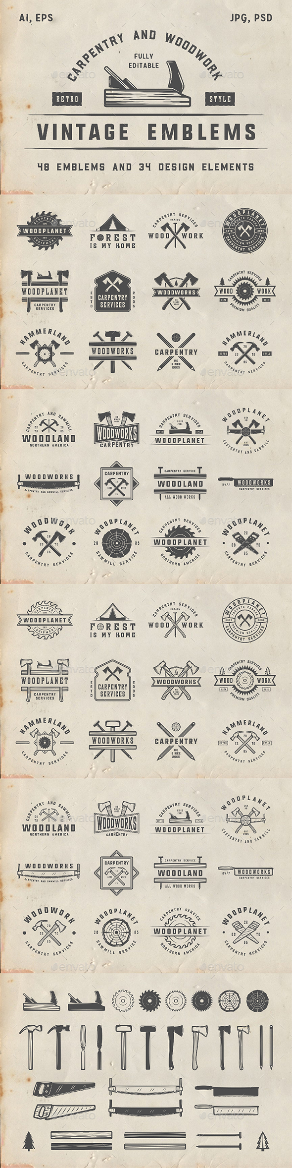 48 Vintage Carpentry Emblems - Badges & Stickers Web Elements