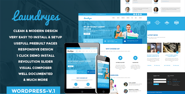 Laundry Business | Dry Cleaning & Laundry Service WordPress theme RTL