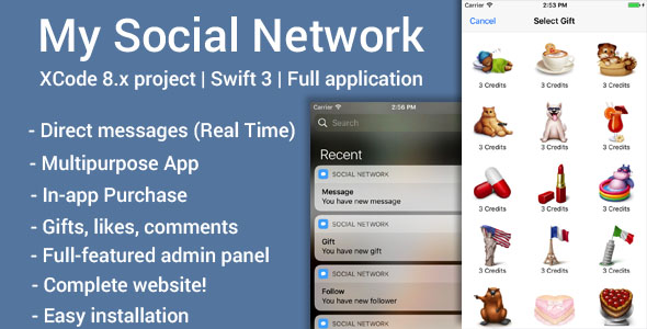 My Social Network (iOS App and Website) - Swift 3 - CodeCanyon Item for Sale