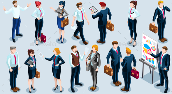Isometric People Boss Deal Icon 3D Set Vector Illustration - People Characters