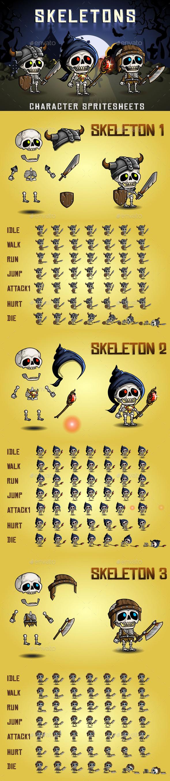 Skeletons 2D Game Character Sprite Sheet - Sprites Game Assets