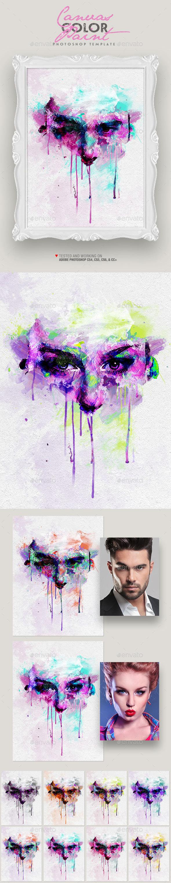 Canvas Color Paint Photo Template - Artistic Photo Templates