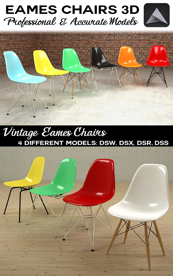 Eames Plastic Chairs DSW DSX DSR DSS - 3DOcean Item for Sale