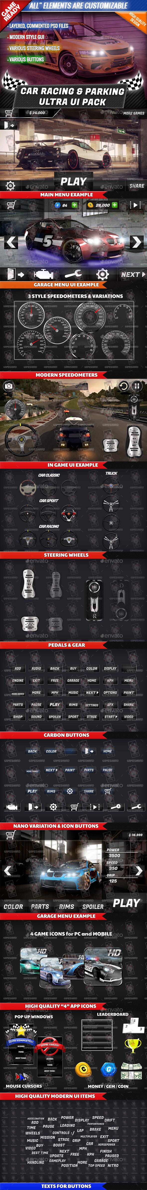 Car Racing & Parking Ultra UI Pack - Game Kits Game Assets