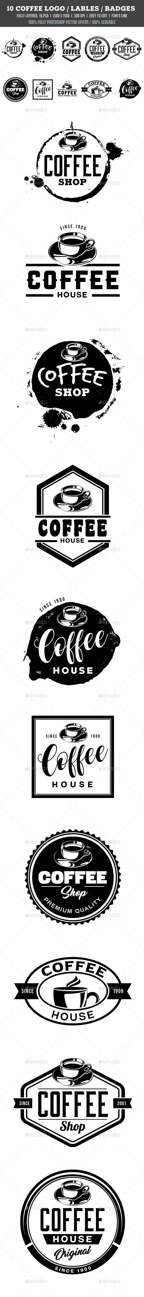 10 Coffee Logo / Labels / Badges - Badges & Stickers Web Elements