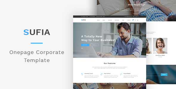 Sufia – One page Corporate PSD Template