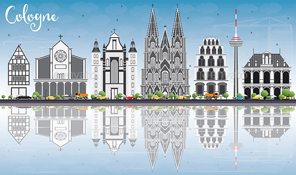 Cologne Skyline with Gray Buildings, Blue Sky and Reflections. - Buildings Objects