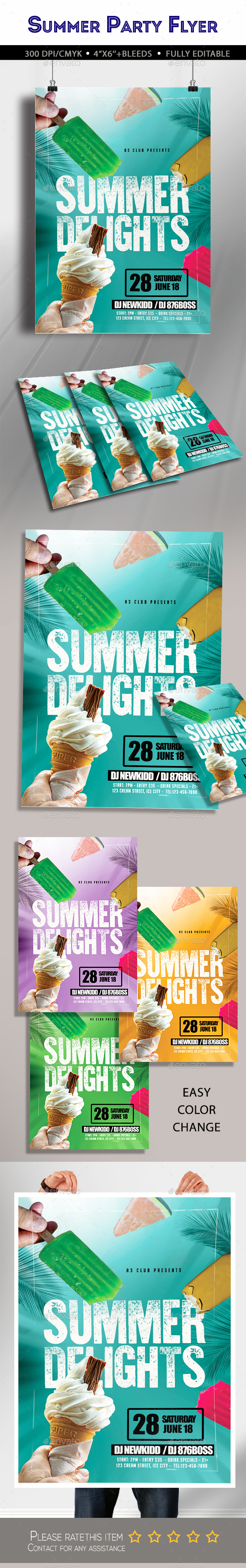 Summer Delights Flyer - Clubs & Parties Events