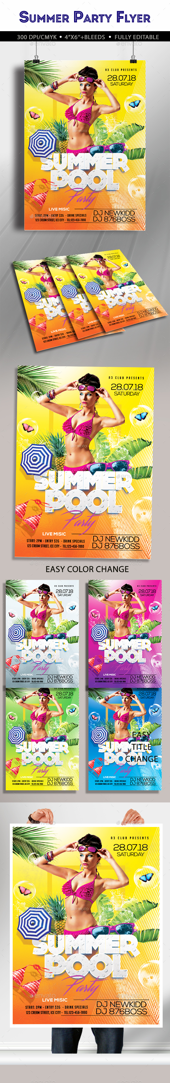 Summer Pool Party Flyer - Clubs & Parties Events