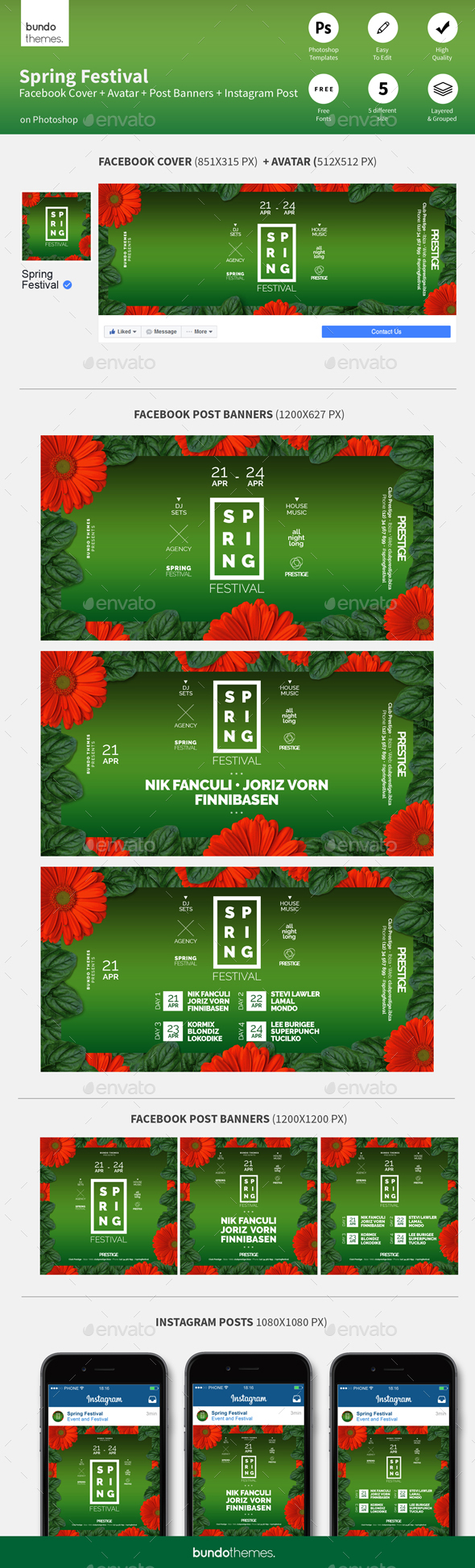 Spring Festival Facebook and Instagram Banners - Social Media Web Elements