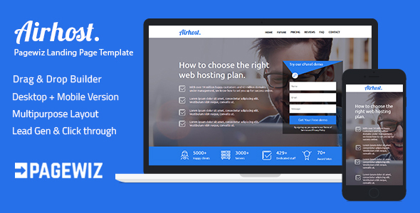 Pagewiz Responsive Landing Page Template - Airhost - Pagewiz Marketing