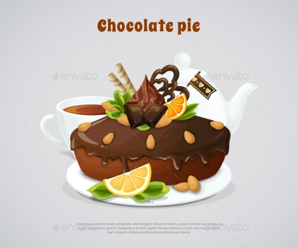 Glazed Chocolate Pie Illustration - Food Objects