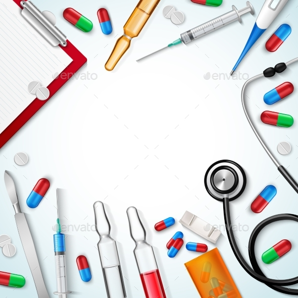 Realistic Medical Instruments Background - Backgrounds Decorative