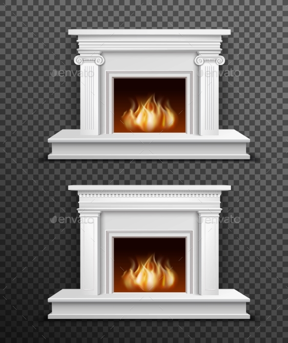 Indoor Fireplace Set On Transparent Background - Backgrounds Decorative