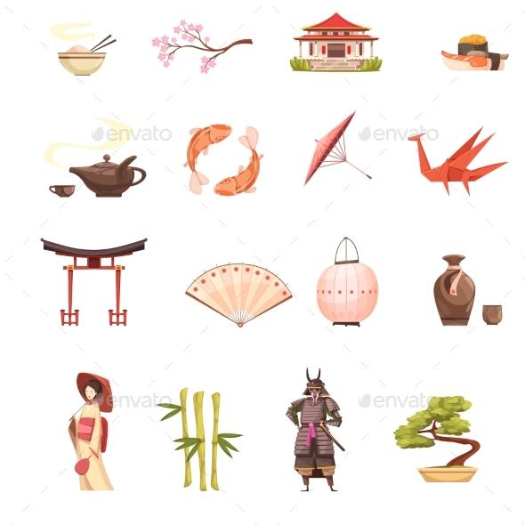 Japan Retro Cartoon Icons Set - Travel Conceptual