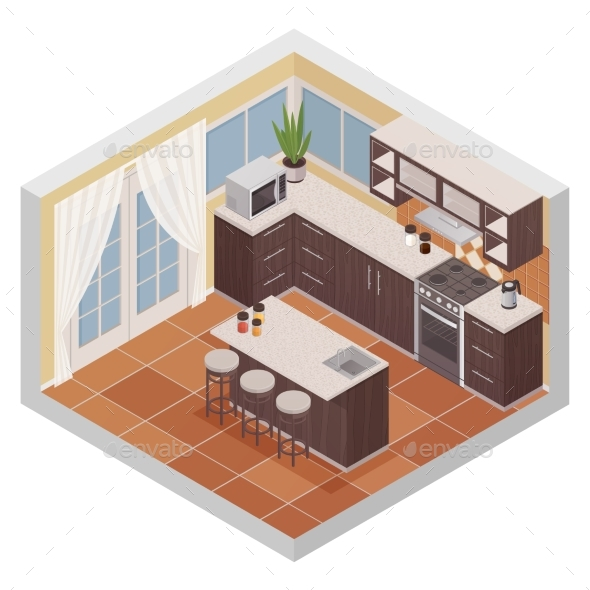 Kitchen Interior Isometric Composition - Backgrounds Decorative