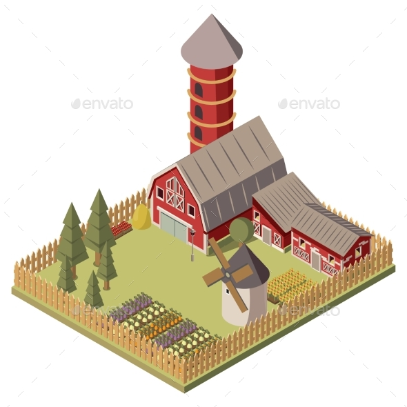 Farm Isometric Design - Buildings Objects