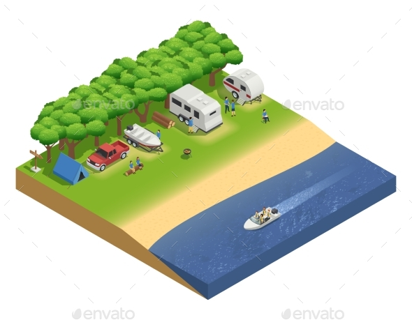 Recreational Vehicles On Beach Isometric - Travel Conceptual