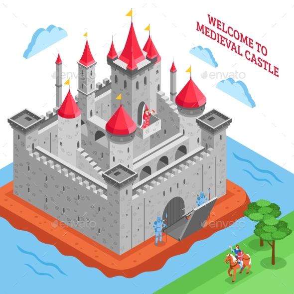 Middle Ages European Royal Castle Composition - Decorative Vectors