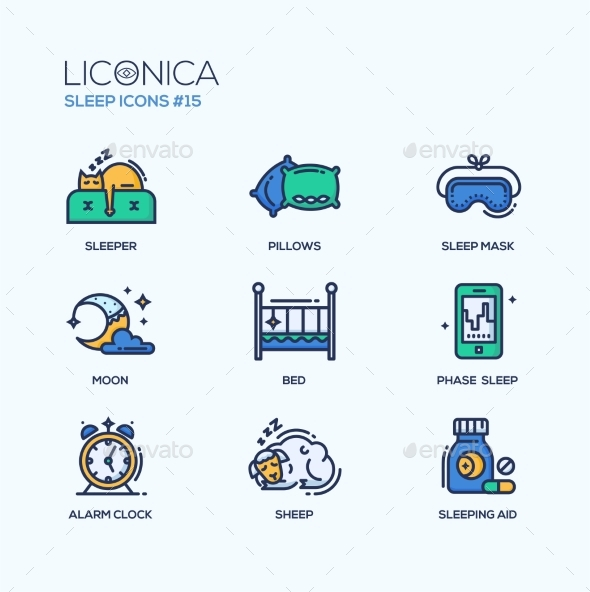 Sleep - Coloured Modern Single Line Icons Set - Health/Medicine Conceptual