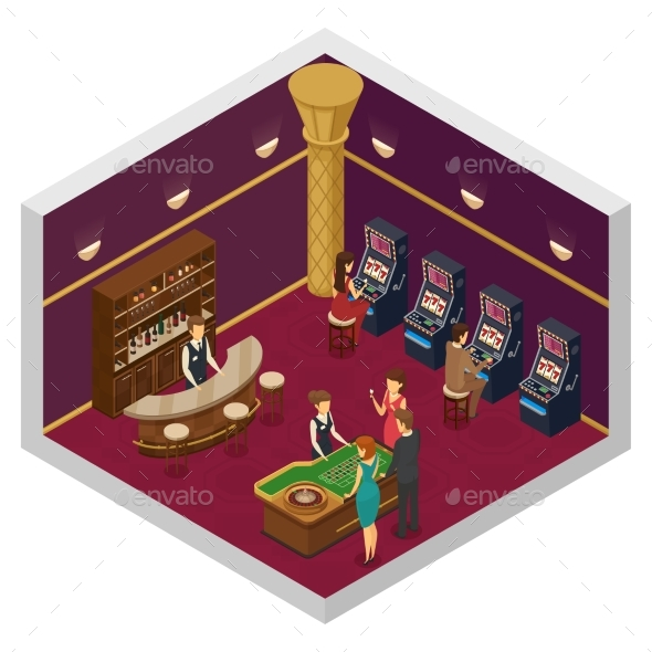 Casino Isometric Interior - Objects Vectors