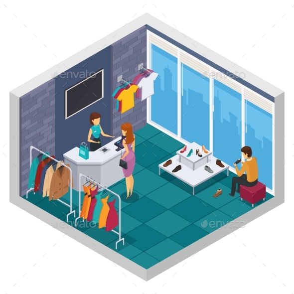 Trying Shop Isometric Composition - Objects Vectors