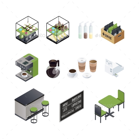 Coffee House Elements Set - Objects Vectors