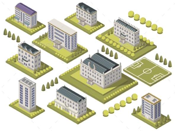 Isometric University Set - Buildings Objects