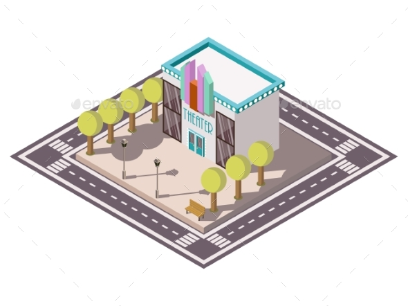Theatre Isometric Illsutration - Man-made Objects Objects
