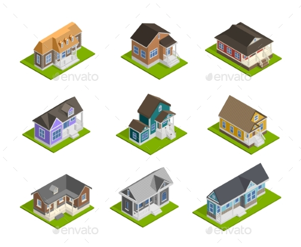 Town Houses Set - Man-made Objects Objects