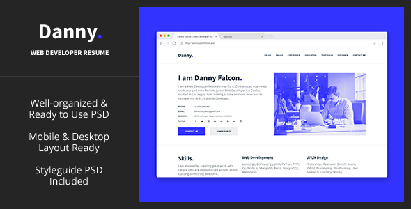Danny — Web Developer Resume PSD Template