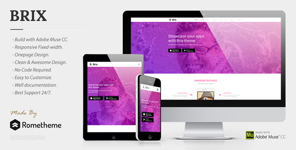 BRIX - Mobile App landing page Muse Template - Landing Muse Templates