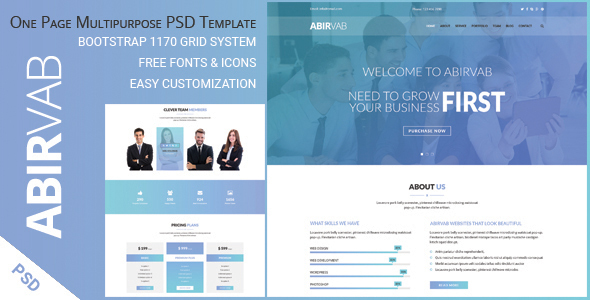 ABIRVAB - One Page Multipurpose PSD Template - Corporate PSD Templates