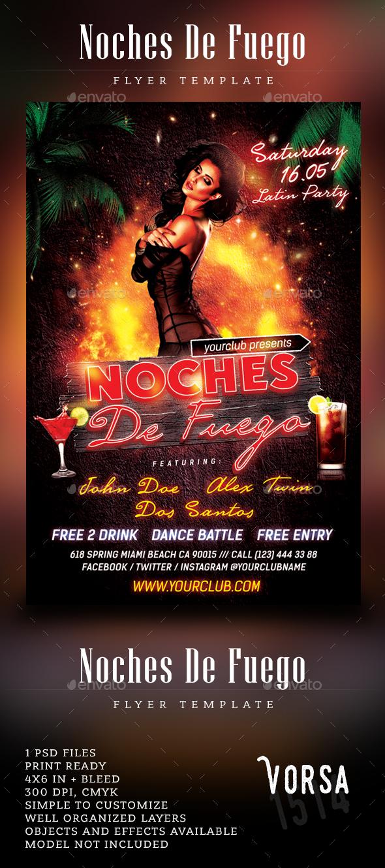 Noches De Fuego Latin Party Flyer - Clubs & Parties Events