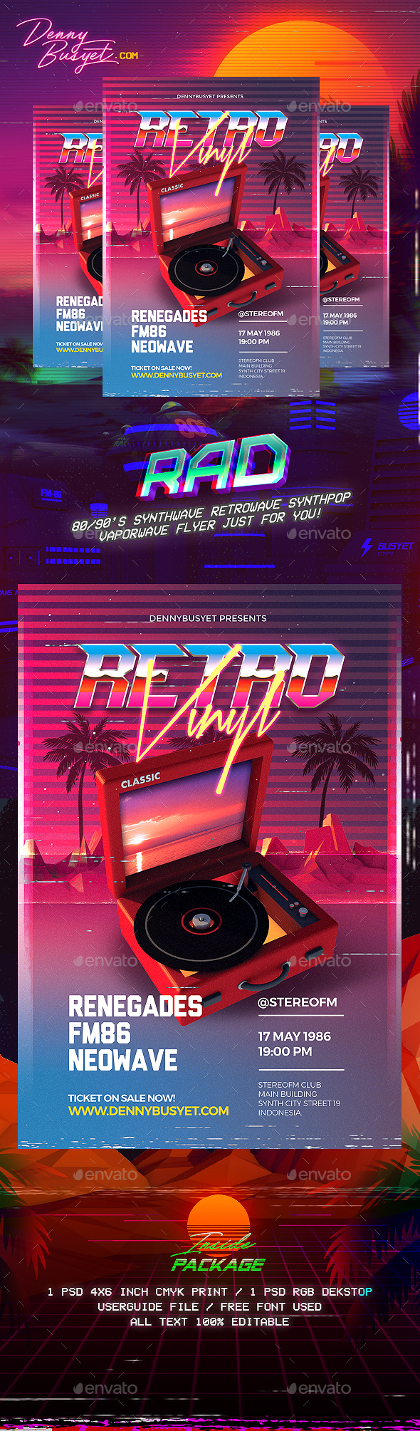 Retro Vinyl 80's Synthwave Flyer - Events Flyers