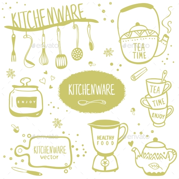 Set of Kitchenware - Food Objects