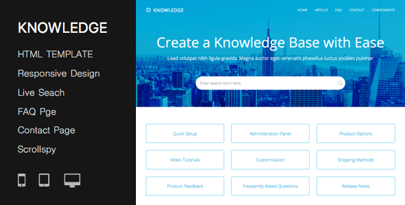 Responsive Knowledge Base & FAQ HTML Template By PressApps