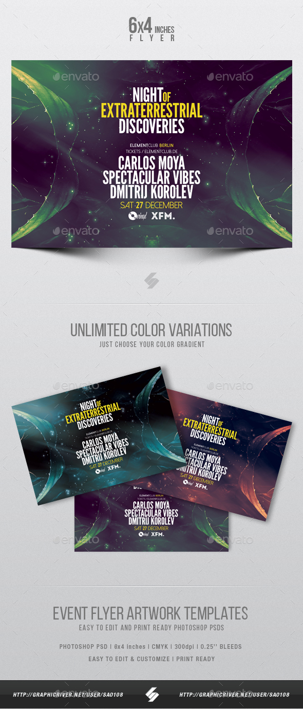 Extraterrestrial Discoveries - Progressive Trance Party Flyer Artwork Template - Clubs & Parties Events