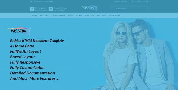 Passion Responsive Fashion HTML Ecommerce Template - Fashion Retail